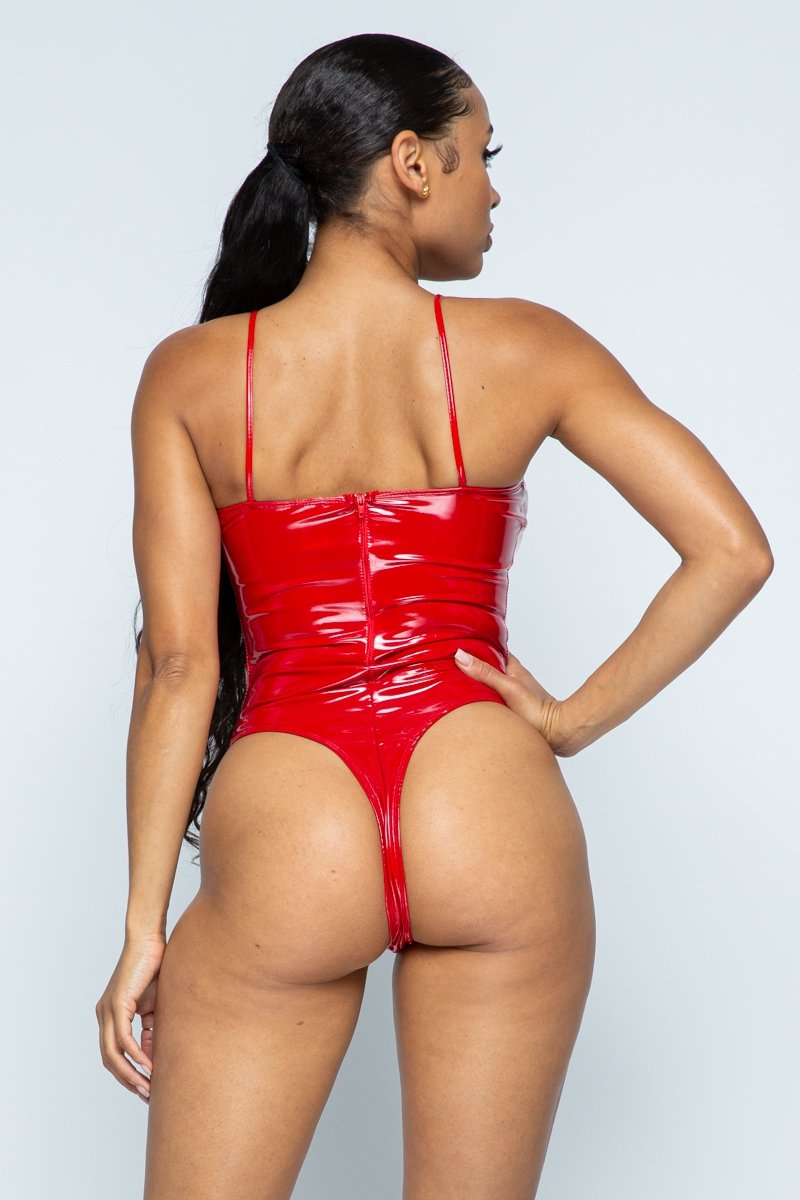 Women's Liquid Latex Camisole Spaghetti Strap Pu Leather Bodysuit
