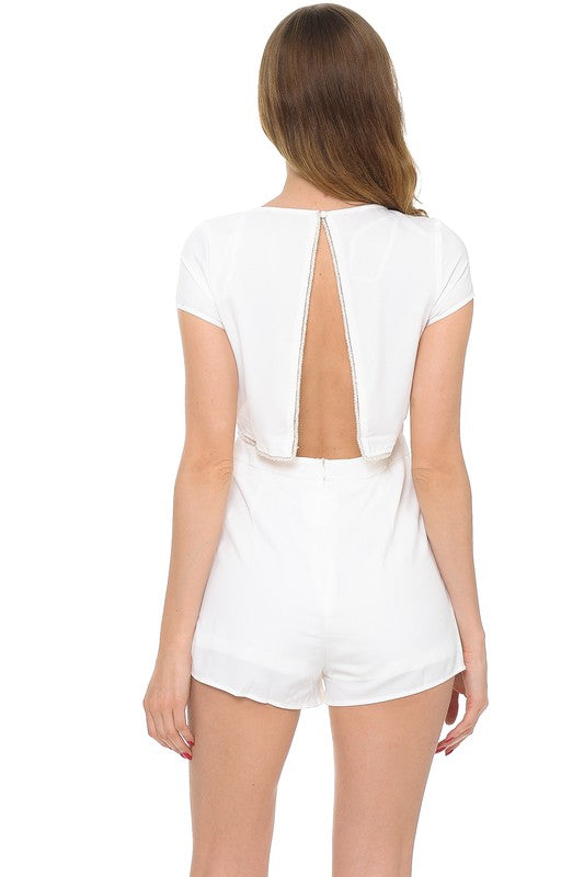 Women's Solid Backless Romper With Silver Trim
