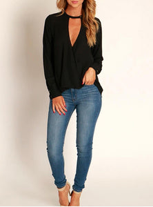 Women's Solid Black V Necked Long Sleeve Fashion Top - Lookeble