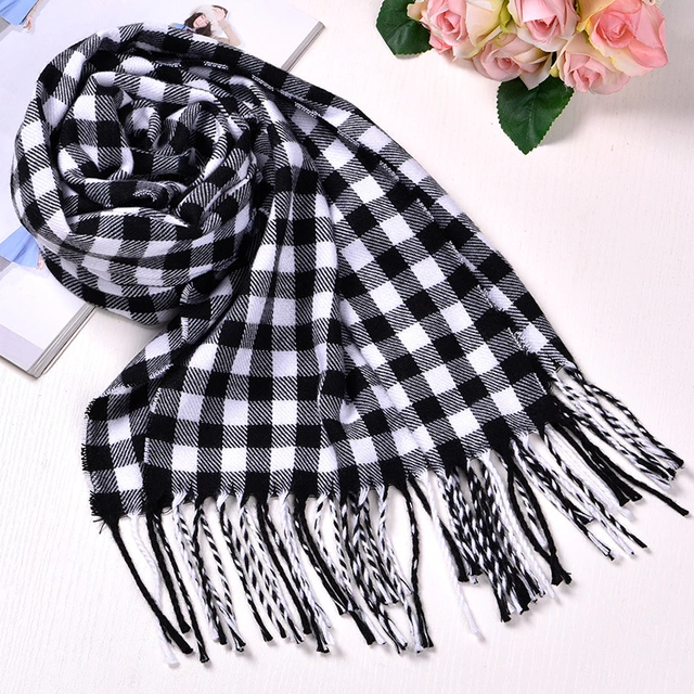 Unisex Solid and Plaid Cashmere Tassel Scarf