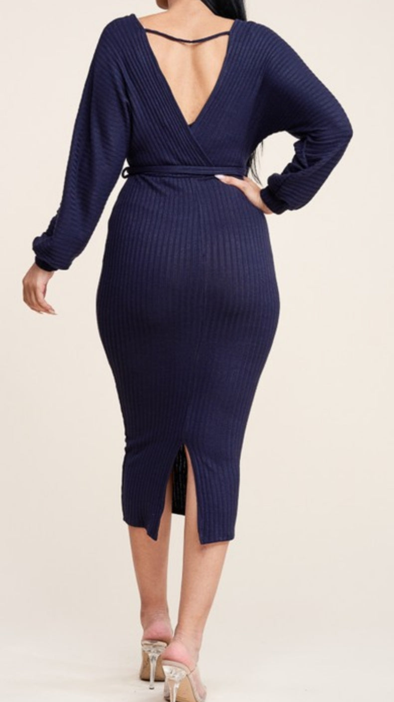 Cross Over Sweater Dress With Waist Tie - Lookeble