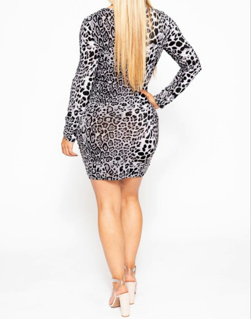 Women's Long Sleeved Gray Leopard Mini Dress