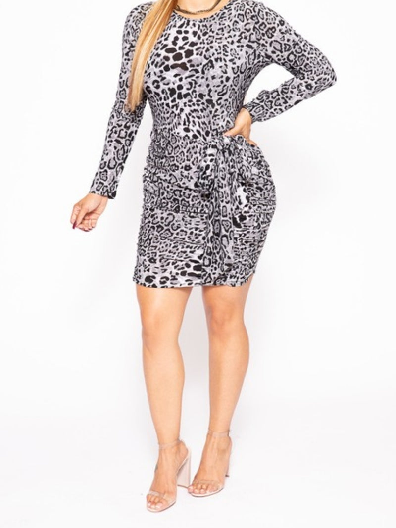 Long Sleeved Gray Leopard Dress - Lookeble