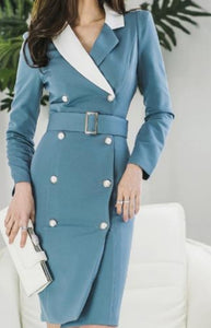 Double-breasted Sheath Bodycon Pencil Dress - Lookeble