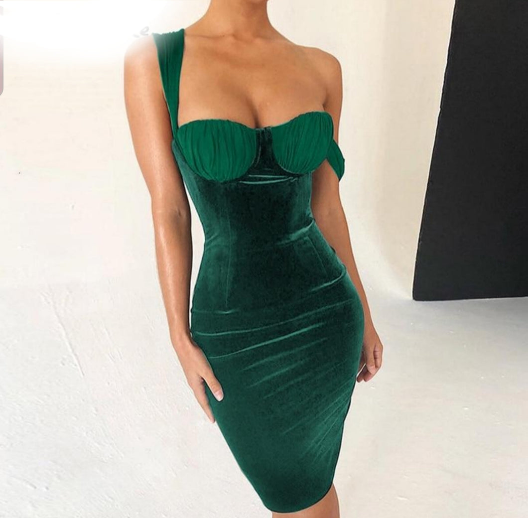 Stretch Velvet Bodycon Dress - Lookeble
