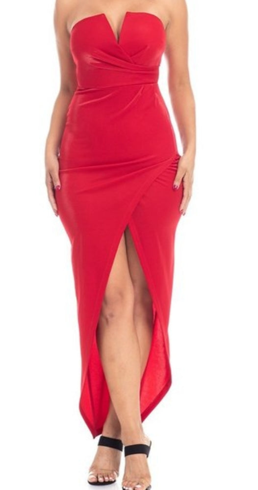 Women's Elegant Red Front Split Pencil Dress - Lookeble