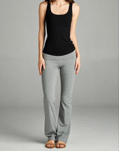 Flare Bottom Leggings With Fold Over Waist - Lookeble