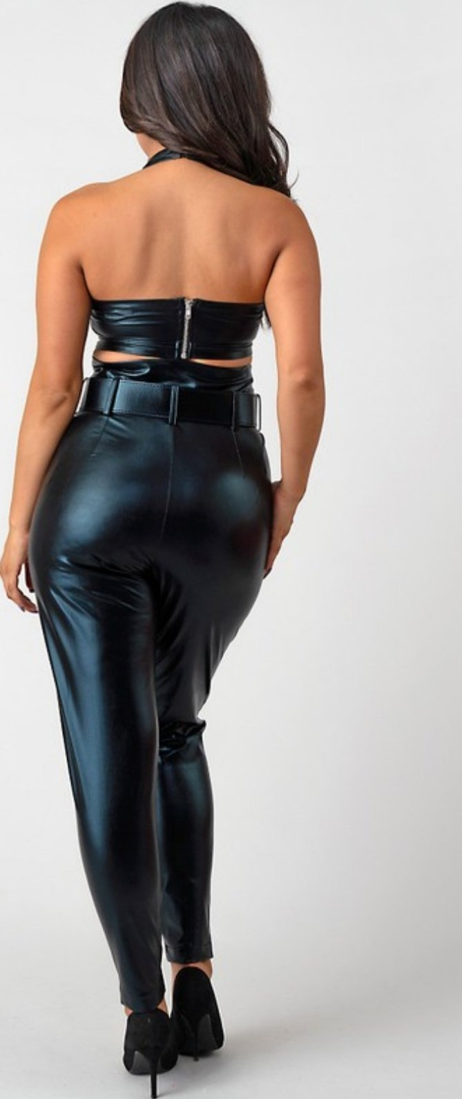 Women's Solid Black Leather Sleeveless Caged Crop Top With Slim Pants Set