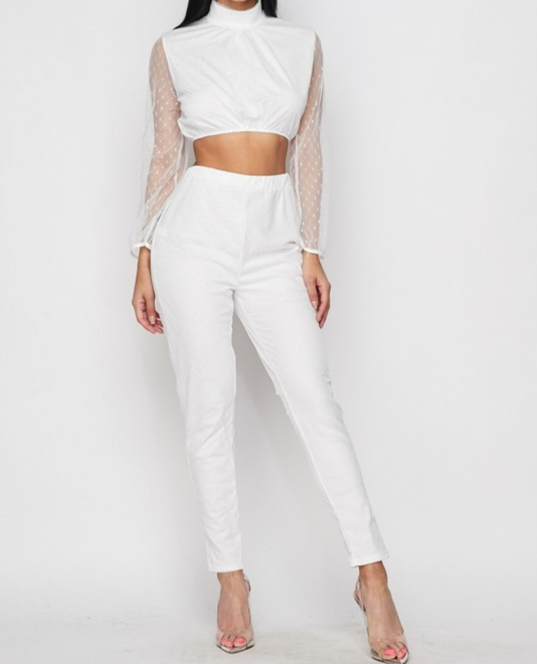 Sheer Sleeve Crop Top & Slim Pants Set - Lookeble
