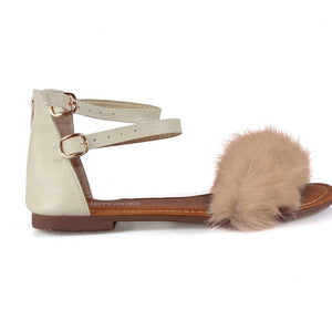 Fur Trim Ankle Strap Sandals - Lookeble