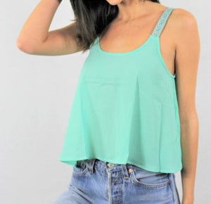 Mint Crochet Strap Crop Top - Lookeble