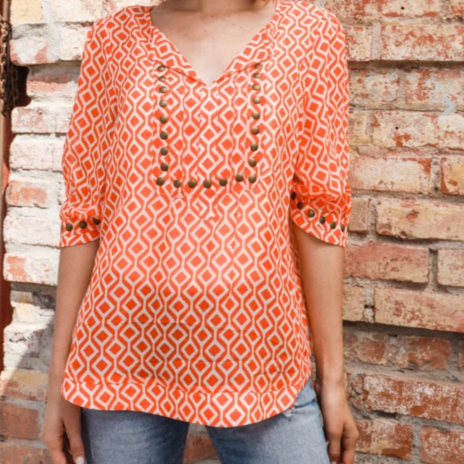 V Neck Studded Blouse - Lookeble