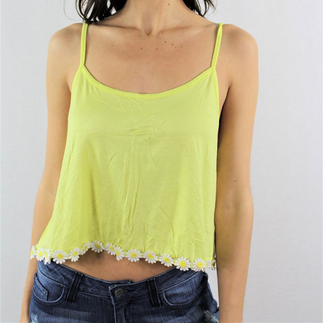 Floral Trim Cami Strap Crop Top - Lookeble