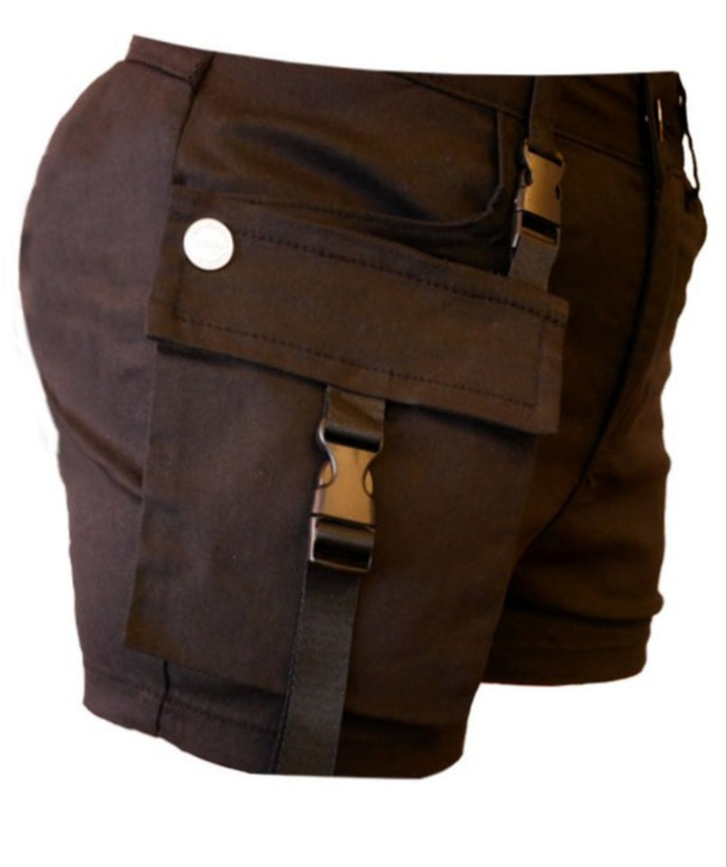 Women's Solid Cargo Utility Shorts