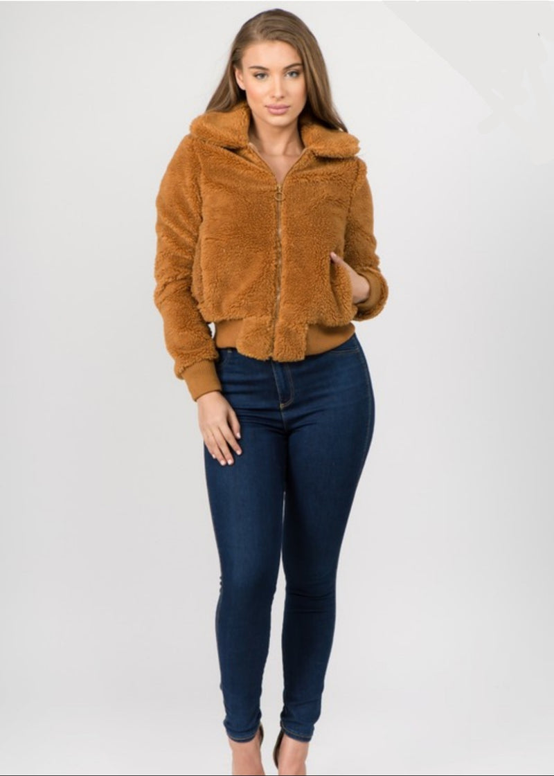Women's Faux Fur Bomber Jacket - Lookeble
