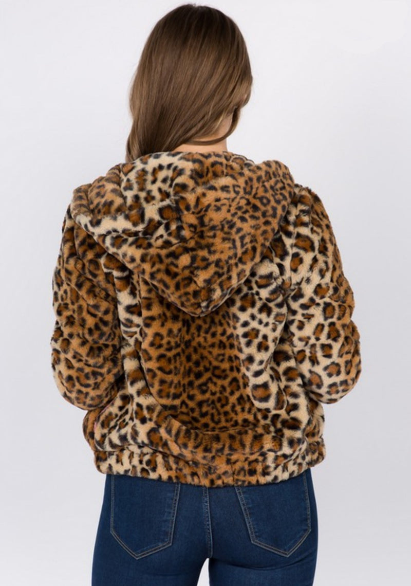 Women's Hooded Leopard Print Faux Fur Bomber Jacket - Lookeble