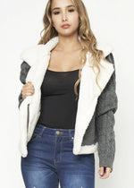 Women's Charcoal Faux Fur Lined Jacket - Lookeble