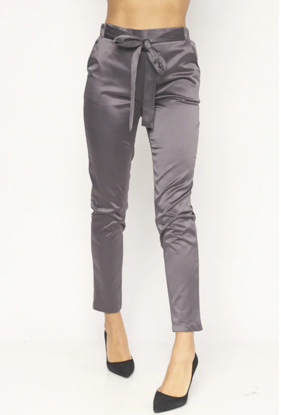 Women's Satin Skinny Leg Pants With Self Tie Waist - Lookeble