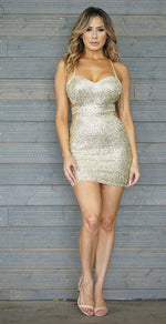 Women's Backless Gold Glitter Mini Dress - Lookeble