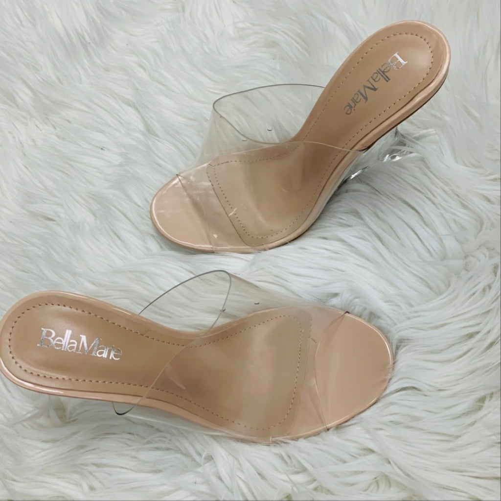 Women's Peep Toe Wedge in Nude