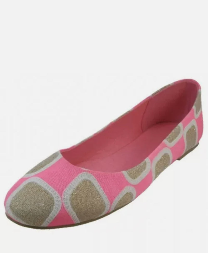 Women's Neon Pink Patch Ballet Flats - Lookeble