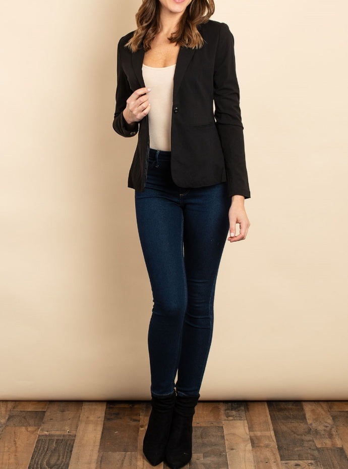 Women's Black Single Button Black Blazer - Lookeble