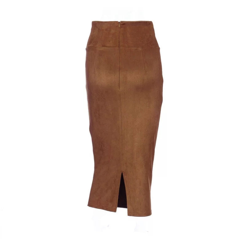 Women's Solid High Waist Suede Pencil Skirt - Lookeble