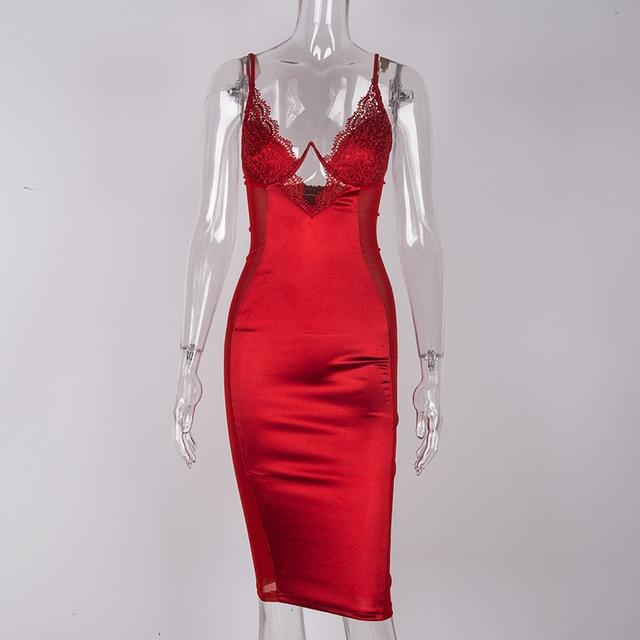 Women's Bustier Satin Dress With Lace Detail