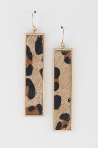 Animal Print Bar Drop Earrings - Lookeble