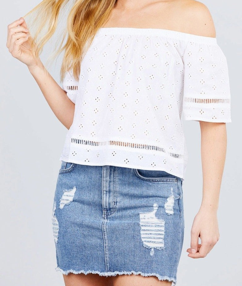 Off The Shoulder Eyelet Detail Woven Top