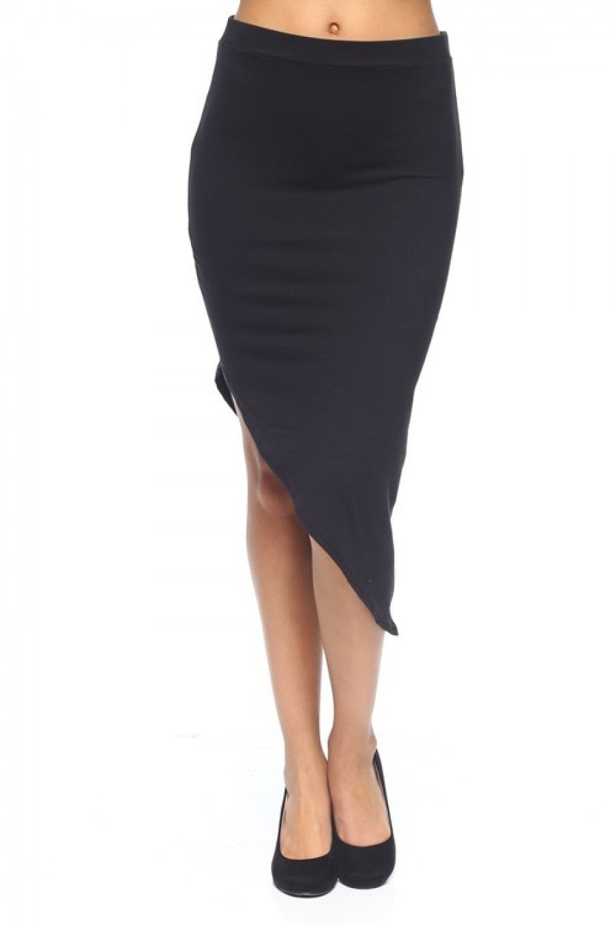 Solid Assymetric Bodycon Skirt - Lookeble