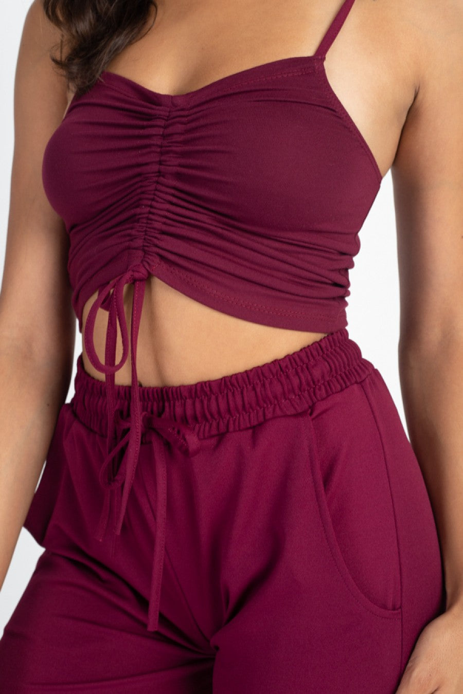 Women's Camisole Spaghetti Strap Shirred Center String Solid Crop Top