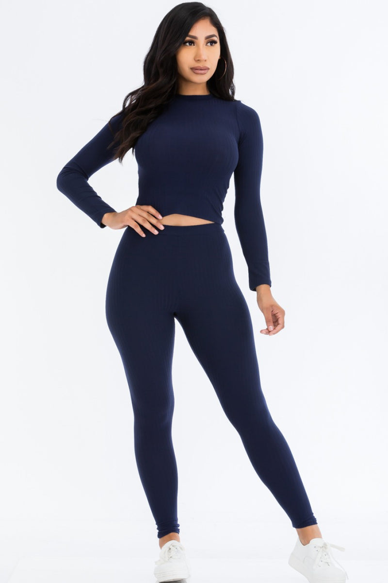 Women's Solid Long Sleeve Crop Top and Leggings Pants Set - Lookeble