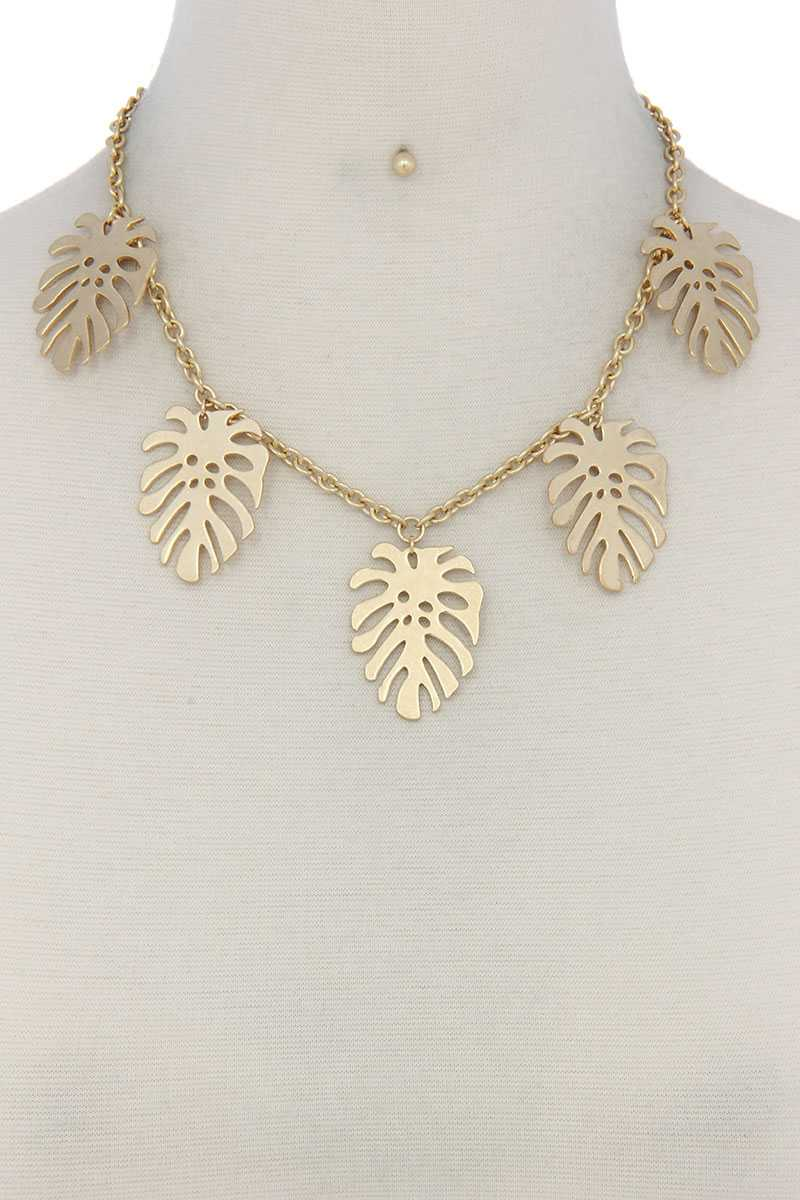 Tropical Leaf Dangle Metal Necklace