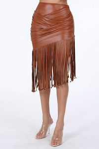 Pu Leather Fringe Skirt - Lookeble