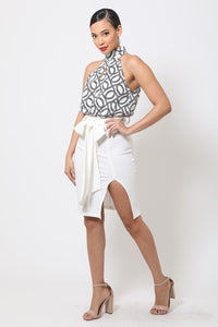 Halter Neck Side Slit Dress with Waist Tie - Lookeble