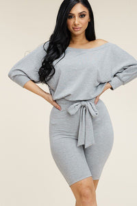 Slouchy Top Romper With Tie Waist - Lookeble