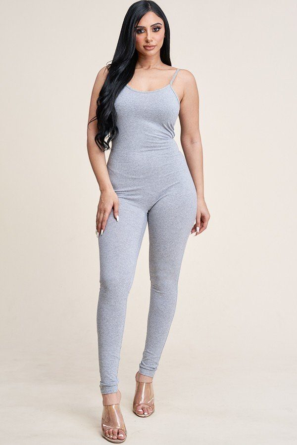 Women's Basic Solid Sleeveless Camisole Spaghetti Strap Bodycon Jumpsuit Romper