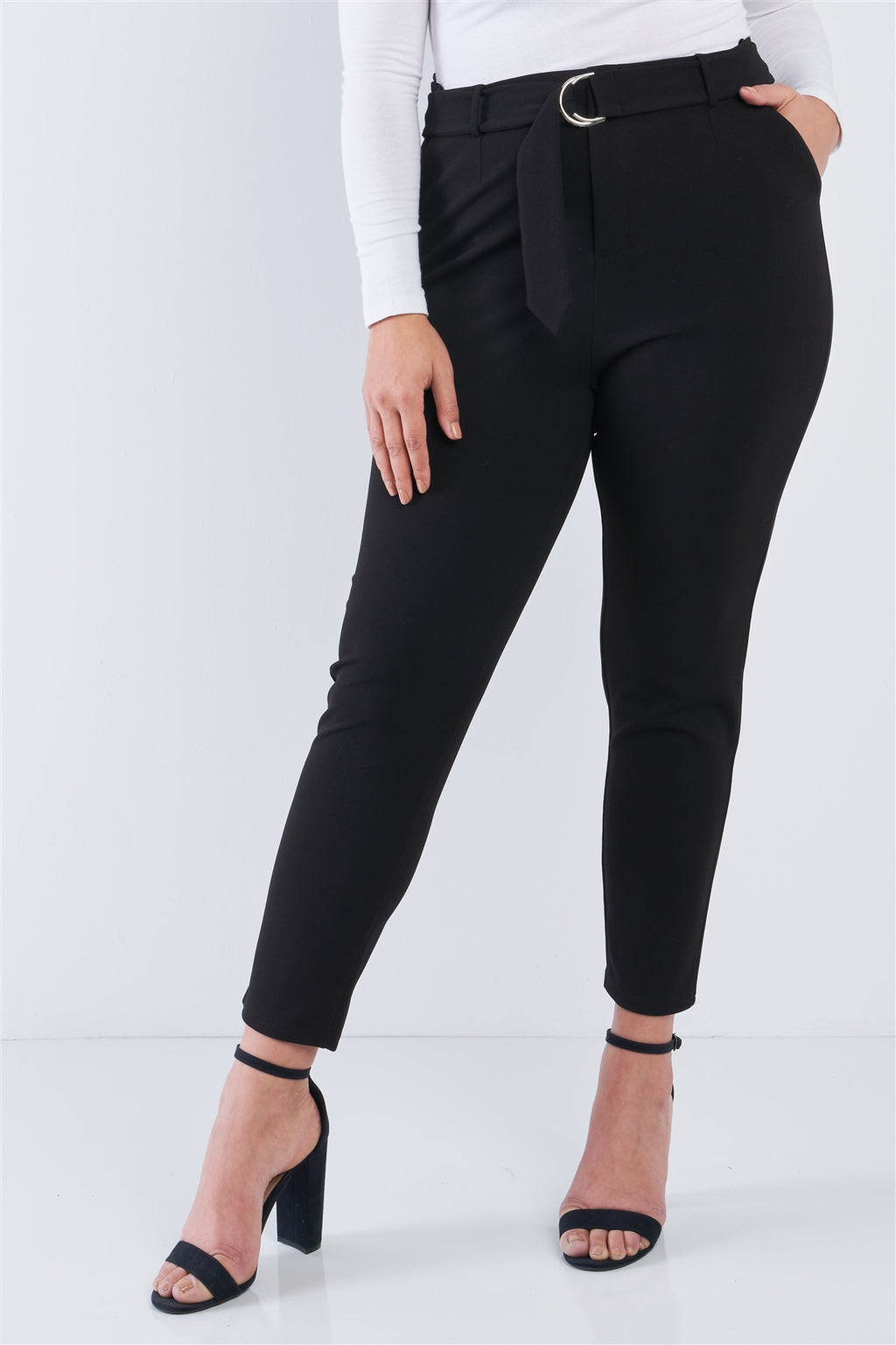 Plus Size High Waist Ankle Length Pants - Lookeble