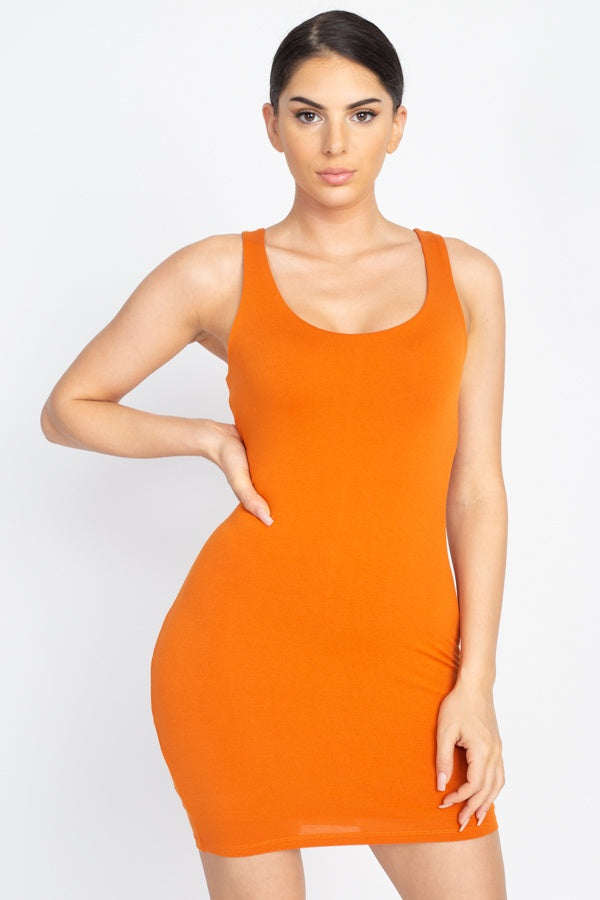 Basic Sleeveless Bodycon Dress - Lookeble