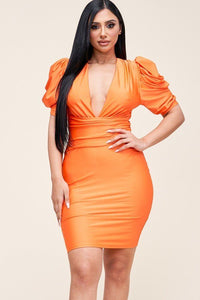 Solid Short Puff Sleeve Dress With Plunged V Neck Line - Lookeble