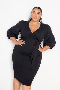 Plus Size 3/4 Sleeve Wrap Midi Dress