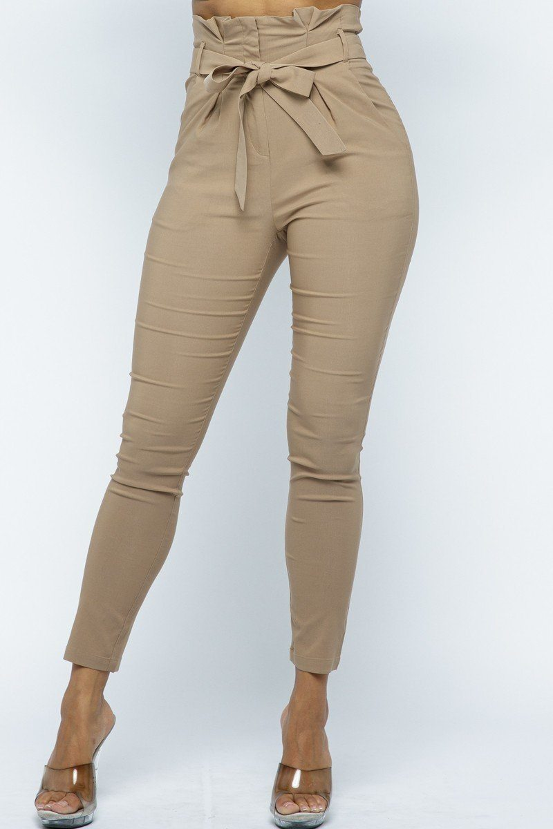 Women's Paperbag Waist Skinny Pants With Fabric Belt - Lookeble