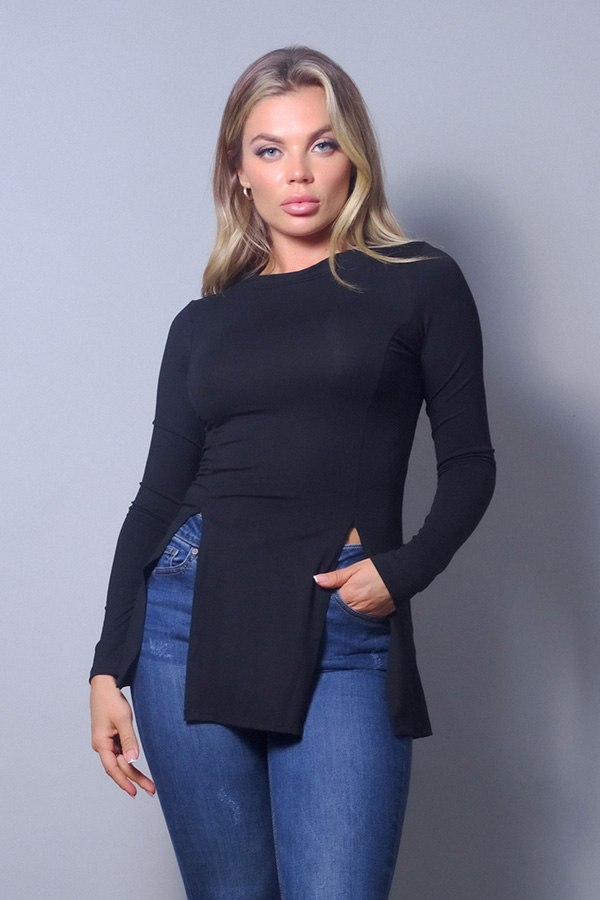 Women's Solid Long Sleeve Slitted Top - Lookeble