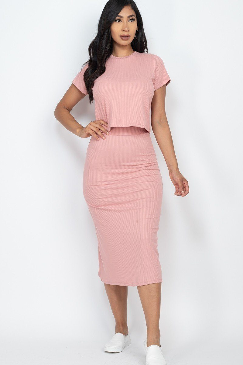 Women's Solid Crop Top & Midi Skirt Set - Lookeble