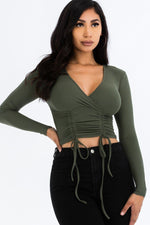 Women's Long Sleeved Double String Shirred Crop Top - Lookeble