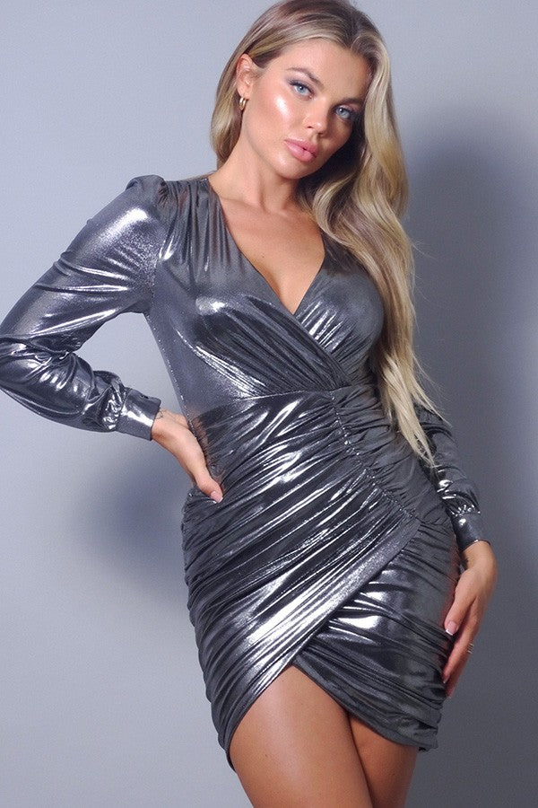 Women's Long Sleeve Metallic Surpliced Asymmetric Hem Mini Dress - Lookeble