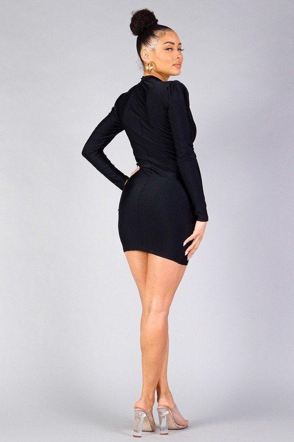 Long Sleeved Cross Over Front Wrap Dress - Lookeble