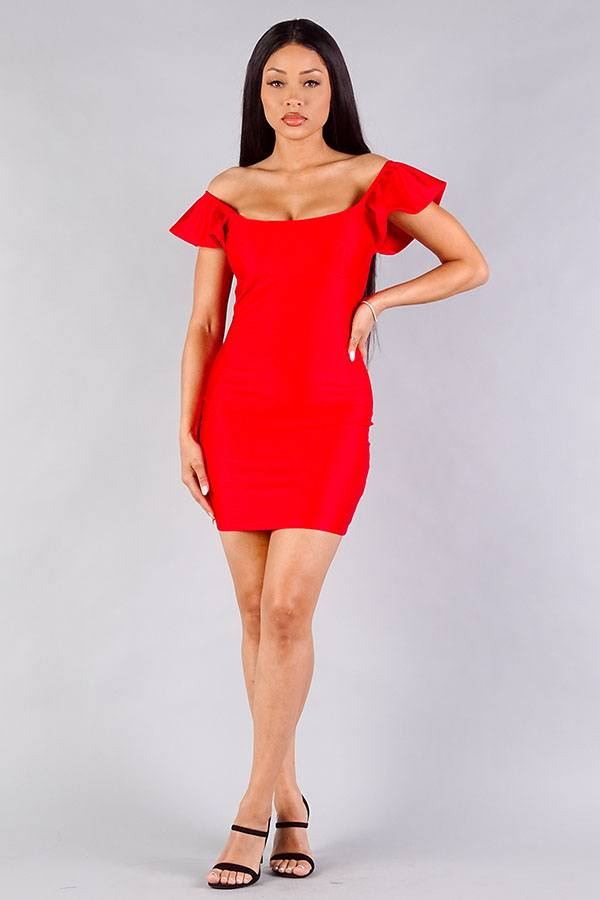 Convertible Off Shoulder Ruffle Sleeve Bodycon Mini Dress - Lookeble