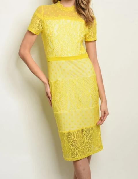 Yellow Lace Dress - Lookeble